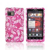 Motorola Droid Bionic XT875 Rubberized Hard Case - White Vines &amp; Flowers on Magenta