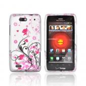 Motorola Droid 4 Rubberized Hard Case - Hot Pink Flowers &amp; Black Vines on Silver