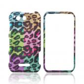Motorola Photon Q 4G LTE Rubberized Hard Case - Multi-Colored Artsy Leopard