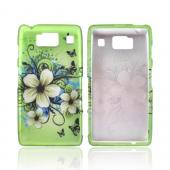 Motorola Droid RAZR HD Rubberized Hard Case - White Hawaiian Flowers on Green