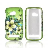 Nokia Lumia 710 Rubberized Hard Case - Hawaiian Flowers on Green