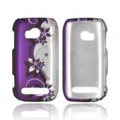 Nokia Lumia 710 Rubberized Hard Case - Purple Flowers/ Vines on Silver