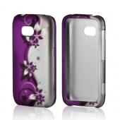 Purples Vines/ Flowers on Silver Rubberized Hard Case for Nokia Lumia 822