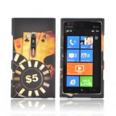Nokia Lumia 900 Rubberized Hard Case - Black/ Gold Aces Poker