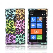 Nokia Lumia 900 Rubberized Hard Case - Multi-Colored Artsy Leopard