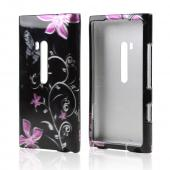 Nokia Lumia 900 Rubberized Hard Case - Purple Butterflies on Black