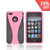 AT&amp;T/ Verizon Apple iPhone 4, iPhone 4S Rubberized Hard Case - Blush Pink/ Black
