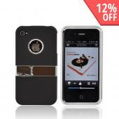 AT&T/ Verizon Apple iPhone 4, iPhone 4S Rubberized Hard Case w/ Chrome Kickstand - Black