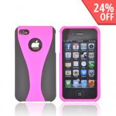 AT&amp;T/ Verizon Apple iPhone 4, iPhone 4S Rubberized Hard Case - Hot Pink/ Black