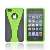 AT&T/ Verizon Apple iPhone 4, iPhone 4S Rubberized Hard Case - Lime Green/ Black