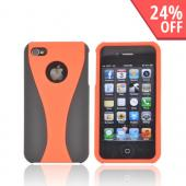 AT&T/ Verizon Apple iPhone 4, iPhone 4S Rubberized Hard Case - Orange/ Black