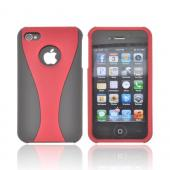AT&amp;T/ Verizon Apple iPhone 4, iPhone 4S Rubberized Hard Case - Red/ Black
