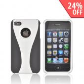 AT&amp;T/ Verizon Apple iPhone 4, iPhone 4S Rubberized Hard Case - Silver/ Black
