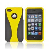 AT&amp;T/ Verizon Apple iPhone 4, iPhone 4S Rubberized Hard Case - Yellow/ Black