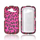 Pantech Burst 9070 Rubberized Hard Case - Hot Pink/ Black Leopard