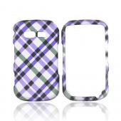 Pantech Caper Rubberized Hard Case - Purple Plaid on Gray