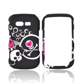 Pantech Caper Rubberized Hard Case - White Skull & Pink Hearts on Black