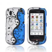Pantech Hotshot Rubberized Hard Case - Black Vines on Blue/ Silver