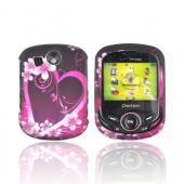 Pantech Jest 2 Rubberized Hard Case - Hot Pink/ Purple Flowers & Hearts