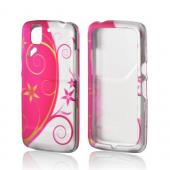 Hot Pink/ Silver Flowers &amp; Vines Rubberized Hard Case for Pantech Flex