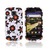 Samsung Droid Charge Rubberized Hard Case - Black/ Red Daisies on White