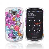 Samsung Droid Charge Rubberized Hard Case - Pink/ Turquoise/ Purple Flowers on Gray