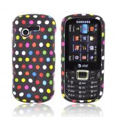 Samsung Evergreen A667 Rubberized Hard Case - Colorful Dots on Black