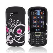 Samsung Evergreen A667 Rubberized Hard Case - White Skull And Pink Heart On Black