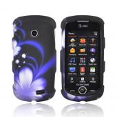 Samsung Solstice II A817 Rubberized Hard Case - Purple Flower on Black