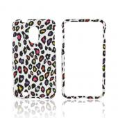 Samsung Epic 4G Touch Rubberized Hard Case - Rainbow Leopard on White