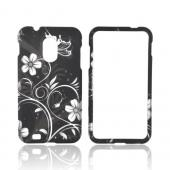 Samsung Epic 4G Touch Rubberized Hard Case - White Butterflies &amp; Flowers on Black