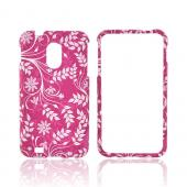 Samsung Epic 4G Touch Rubberized Hard Case - White Vines & Flowers on Magenta