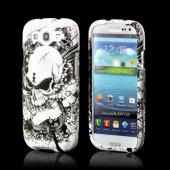 Angry White Skull on Black Rubberized Hard Case for Samsung Galaxy S3