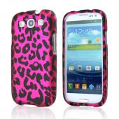 Samsung Galaxy S3 Rubberized Hard Case - Pink/ Black Leopard