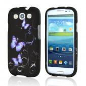 Samsung Galaxy S3 Rubberized Hard Case - Purple Butterflies on Black