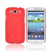 Samsung Galaxy S3 Rubberized Hard Case w/ 3D Texture - Red Roses & Vines
