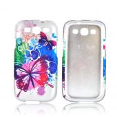 Samsung Galaxy S3 Rubberized Hard Case - Pink/ Blue Watercolor Butterflies