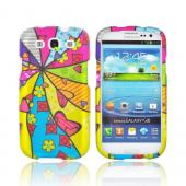 Samsung Galaxy S3 Rubberized Hard Case - Multi-Colored Pinwheel w/ Hearts & Flowers