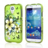 White Hawaiian Flowers on Green Rubberized Hard Case for Samsung Galaxy S4