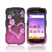 Samsung Galaxy S Blaze 4G Rubberized Hard Case - Hot Pink/ Purple Flowers &amp; Heart