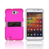 Samsung Galaxy Note Rubberized Hard Case w/ Chrome Kickstand - Hot Pink
