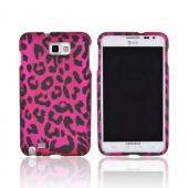 Samsung Galaxy Note Rubberized Hard Case - Hot Pink/ Black Leopard