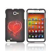 Samsung Galaxy Note Rubberized Hard Case - Red Heart on Stars