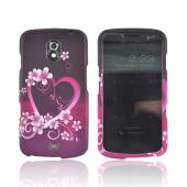 Samsung Galaxy Nexus Rubberized Hard Case - Hot Pink/ Purple Flowers & Hearts