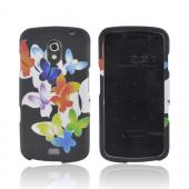 Samsung Galaxy Nexus Rubberized Hard Case - Rainbow Butterflies on Black