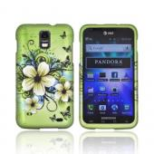 Samsung Galaxy S2 Skyrocket Rubberized Hard Case - Hawaiian Flowers on Green