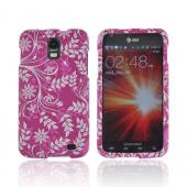 Samsung Galaxy S2 Skyrocket Rubberized Hard Case - White Flowers &amp; Vines on Purple