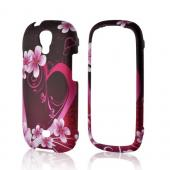 Hot Pink/ Purple Flowers & Heart Rubberized Hard Case for Samsung Stratosphere 2