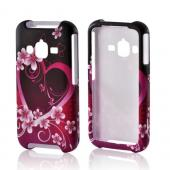 Hot Pink/ Purple Flowers &amp; Heart Rubberized Hard Case for Samsung Rugby Pro
