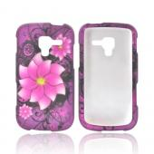 Samsung Exhilarate i577 Rubberized Hard Case - Pink Divine Flower on Purple